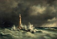 "Anton Melbye ""Lighthouse At Stora Balt""  Large 12""x18"" Real Canvas Art Print"
