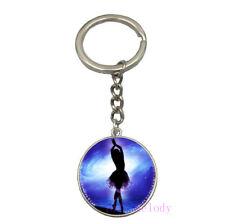 Vintage Glass Cabochon silver Car Key chain ring pendant(ballet dancer) A-202