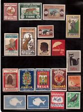 LOT OF 36 VINTAGE MATCHBOX ADVERTISING LABELS !!  J22