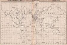Mundo. isotérmico líneas de igualdad de temperatura media anual. Britannica 1860 Mapa