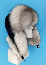 Blue Fox Fur Ushanka Hat. Leather Top. Real Genuine Trapper Aviator Hat