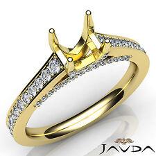 Round Cut Semi Mount Diamond Engagement 14k Yellow Gold Pave Setting Ring 0.75Ct