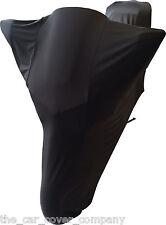 Super Soft Stretch Elasticated Indoor Motor bike Cover In Black- Personalised-L