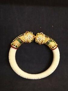 Kundan Meenakari Bracelet Beads Metal Bangle Band Cuff Jewelry Round Women Gift