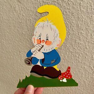 VINTAGE WAND FIGUR Flöten-Fliegenpilz-Zwerg 1970er 18cm  Holz Bild Kind Alt GNOM