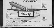 OLYMPIC AIRWAYS 1962 COMET 4B JETS TO SPAIN & EUROPE FROM ISTANBUL TURKEY AD