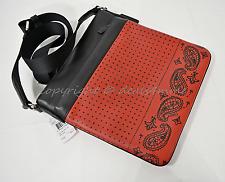 Coach Charles Red/Black Bandana Printed Leather Sport Calf Crossbody Bag F55961