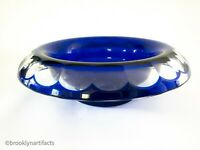 Large Moser Blue Modern Crystal Glass Lipped Serving Bowl - Cut to Clear