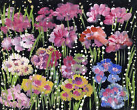 Gustave Bourgogne, Pink Flowers – Original mid-20th-century gouache painting