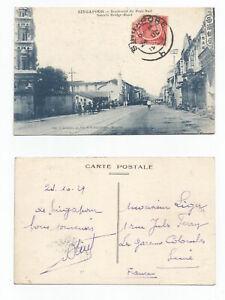 SINGAPORE 1929 PC, Souxth Bridge Road, Singapore sent to France @6c rate