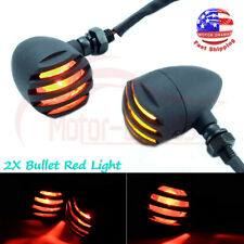 2x Motorcycle Bullet LED Turn Signal Red Lights Indicator Fit Chopper Cafe Racer