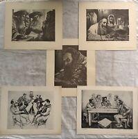 BEAUTIFUL VINTAGE RABBI ART PRINT SET OF 5 ISRAEL JUDAICA JEWISH ARTHUR ROTHMANN