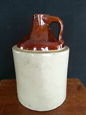 Antique POTTERY JUG 2 TONE WITH HIGH GLAZE TOP-- STONEWARE