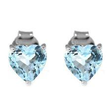 1.8ct Beautiful Genuine Sky Blue Topaz Heart Sterling Silver Stud Earrings 6mm
