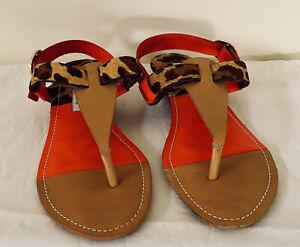 Diane Von Furstenberg Orange Leopard  T Bar Sandals Size 6 NWOT Made In Brazil