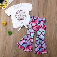 2pcs Toddler Kid Baby Girl Clothes Mermaid T Shirt Tops Pants Outfits Set