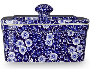 BURLEIGH CALICO BLUE BUTTER DISH WITH LID - NEW/UNUSED