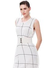 Women Elastic Buckle Wide Waistband Fashion Lady Corset Stretch Slim Waist Belt