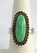 Sterling Silver & Green Turquoise Ring Marked RB Running Bear Navajo Size 8