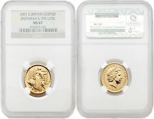 Great Britain Britannia 2001 (Una and the Lion) 25 Pounds 1/4 oz Gold NGC MS67