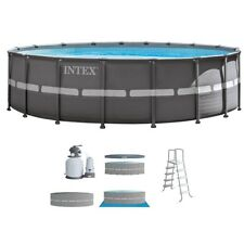 Intex 18ft X 52in Ultra Frame Pool Set with Sand Filter Pump, Ladder, Ground Clo