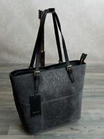 Ital. Schulter Tote Bag Shopper Hand Tasche ECHT LEDER Schlangenhaut Grau 907G
