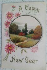 A Happy New Year, Countryside, Fields, Flowers & Trees, Dutch Postcard