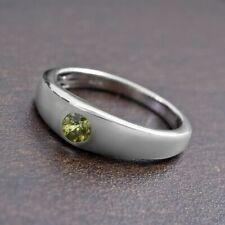 Rare Russian Demantoid Green Garnet Solitaire Platinum Plated 925 Silver Ring