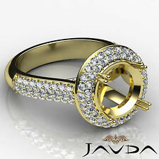 Diamond Engagement Ring Halo Pave VS1-VS2 14k Yellow Gold Round Semi Mount 1.5Ct