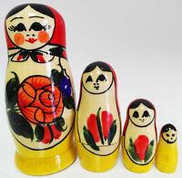"h= 3.5/"" hand painted #2-2 Russian Semenov Nesting dolls Matryoshka set 4 pcs"