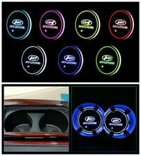 2pcs rechargeable LED Car Cup Holder Pad Mat for HYUNDAI Auto Atmosphere Lights
