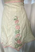 MCM 40s - 60s  Vintage Floral Apron Embroidered Half White PINK Morning Glory