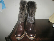 Brown Leather Boots with Rabbit Fur in Size 38 Original Price $530.00