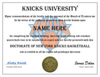 NEW YORK KNICKS PERSONALIZED FAN DIPLOMA, GREAT GIFT