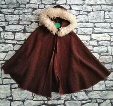 Vintage 70s Brown Fur Hooded Cape
