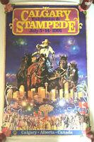 """Vintage 1991 Calgary Stampede Poster 34.5"""" X 22.5"""" Bulls, Blood, Dust, & Mud!"""