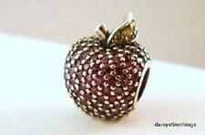 NWT  AUTHENTIC PANDORA SILVER CHARM RED PAVE APPLE #791485CFR