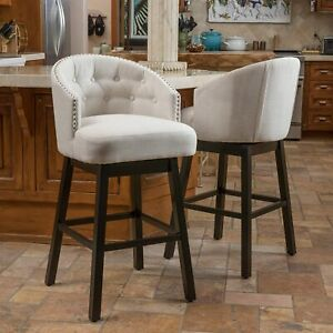 Contemporary Backed Bar Stools, Set of 2, Beige, New