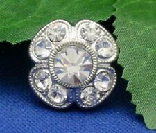 Clear Crystal Rhinestone 14mm Buttons with silver-tone metal - set of 10 buttons