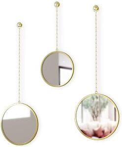 Umbra Dima Round Mirror, Brass Set of 3 (1013877-104)