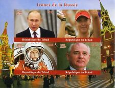 Chad 2018 MNH Russia Icons Putin Sharapova Gagarin Gorbachev 4v IMPF M/S Stamps