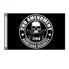 Große Biker Chopper Skull Totenkopf Security Shotgun USA Flagge Fahne Banner