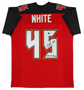 """Devin White """"SB LV Champs"""" Authentic Signed Red Jersey Autographed BAS Witnessed"""