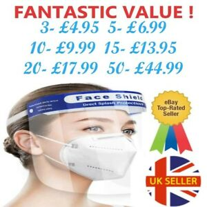 FACE SHIELD FULL FACE VISOR PROTECTION MASK PPE SHIELD CLEAR PLASTIC