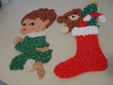 Popcorn Plastic Praying Boy & Christmas Teddy Bear Stocking Wall Decoration