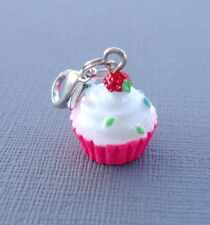 Cupcake pendant dangle Clip On Charm with Lobster Clasp fits Link Chain  C45