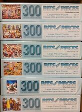Lot of Six (6) Used Colorful Jigsaw Puzzles, Bits & Pieces 300 Large Pieces Each