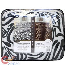 Zebra Leopard Reversible Queen Comforter Faux Fur Bedspread With Pillow Cover
