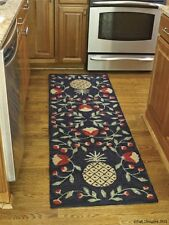 "Pineapple Hooked Rug Runner by Park Designs - 24"" x 72"" - Black Floral"