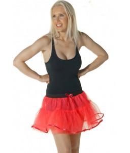 GIRLS LADIES 4 LAYER RED TUTU SKIRT W/ BOW & TIE HALLOWEEN FANCY DRESS ACCESSORY